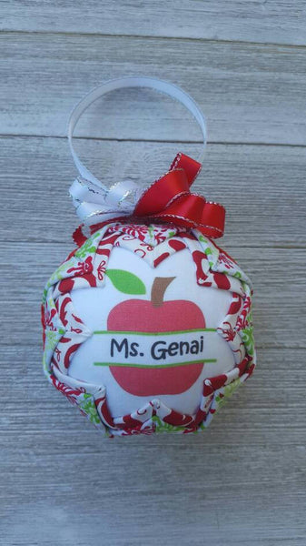 Personalized Teacher Apple Split Monogram Fabric Ornament. 2 sided. Teacher Gift. Teacher Ornament. Back to School. Paraprofessional Gift.