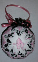 Pink Ballet Slippers Quilted Fabric Christmas Tree Ornament. Ballet Ornament. Ballet Slippers. Dance Ornament. Girl Ornament. Pink Ornament.