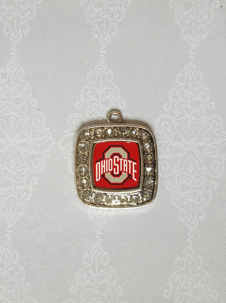 Rhinestone Pave Ohio State Square Silver Tone Charm Pendant. Craft Supply. Officially Licensed. Charm Only. Not A Finished Product. Buckeyes