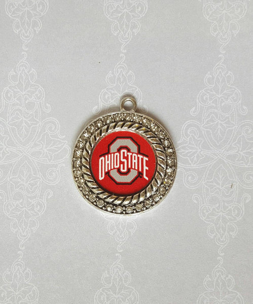 Rhinestone Pave Ohio State Circle Silver Tone Charm Pendant. Craft Supply. Officially Licensed. Charm Only. Not A Finished Product. Buckeyes