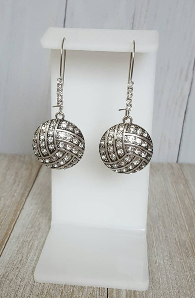 Rhinestone Pave Bling Volleyball Dangle Kidney Wire Silver Tone Earrings. Volleyball Earrings. Volleyball Mom Earrings. Rhinestone Ball