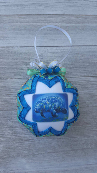 Manatee Quilted Fabric Christmas Tree Ornament. Manatee Ornament. Sea Cow Ornament. Manatee Decor. Manatee Gift Florida Ornament