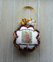 Memorial Photo Quilted Fabric Christmas Ornament. Photo Ornament. In Loving Memory  Ornament.  Memorial Gift. Funeral Gift Customizable Text
