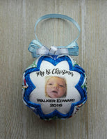 Custom Baby Photo Quilted Fabric Christmas Ornament. Photo Ornament. My 1st Christmas Ornament.  Baby's First Christmas. Customizable Text