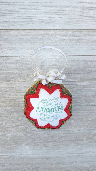 New Home Fabric Christmas Ornament. New Memories. New Adventure. Housewarming Ornament. New Home Gift. Realtor Gift. Housewarming Gift