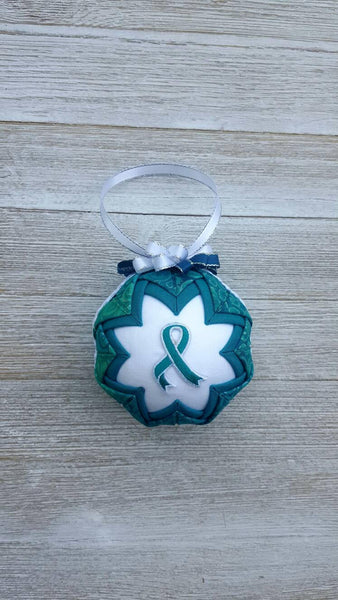 Teal Awareness Ribbon Quilted Fabric Christmas Ornament Bulb. Ovarian Cancer Ornament. Teal Ribbon Ornament. Survivor Ornament. Memorial.