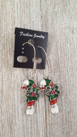 Candy Cane Rhinestone Pave & Enamel Christmas Dangle Kidney Wire Silver Tone Earrings. Christmas Earrings. Candy Cane Earrings. Teacher Gift