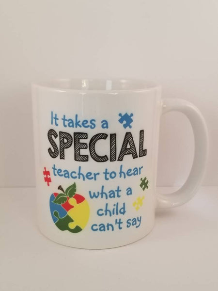 Autism Awareness Sublimated Mug. 11 oz. 2 sided.  Autism Mug. Puzzle Piece Apple Mug. Autism Quote Mug. Autism Mom Mug. Special Teacher Mug