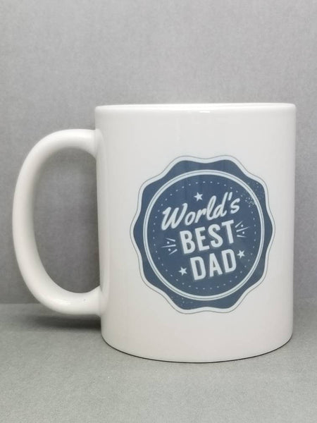 World's Best Dad Blue Ribbon Sublimated Mug. 11 oz. 2 sided. Dad Mug. Father's  Day Mug. Gift For Dad. Father's Day Gift.  Funny Dad Gift