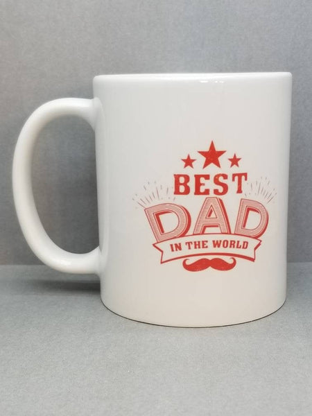 Best Dad In The World Mustache Sublimated Mug. 11 oz. 2 sided. Dad Mug. Father's Day Mug. Gift For Dad. Father's Day Gift. Funny Dad Gift