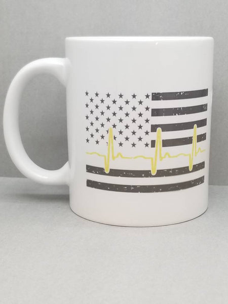 Dispatcher Thin Yellow Line Sublimated Mug. 11 oz. Dispatcher Distressed Flag Mug. Dispatcher Mug. 911 Dispatcher Gift. First Responder