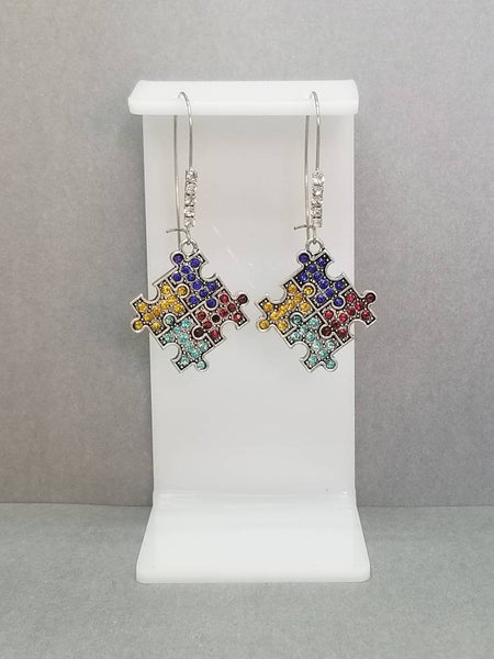 Rhinestone Pave Autism Puzzle Pieces Dangle Kidney Wire Silver Tone Earrings. Autism Awareness Earrings. Puzzle Piece Earrings. Teacher Gift