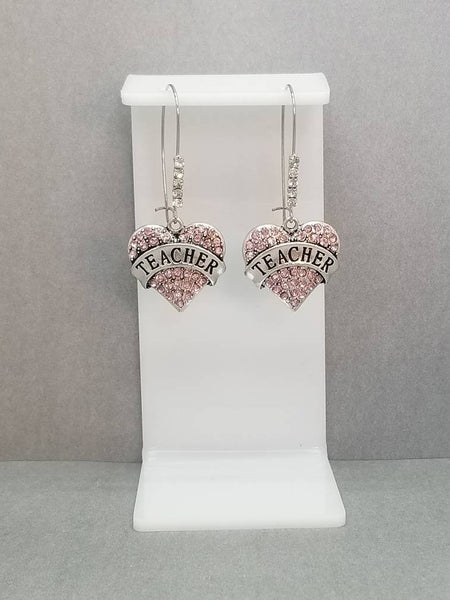 Rhinestone Pave Pink Teacher Dangle Kidney Wire Silver Tone Earrings. Teacher Earrings. Teacher Heart Earrings. Teacher Gift. Back To School