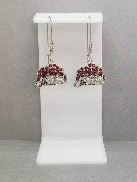 Rhinestone Pave Red Santa Hat Christmas Dangle Kidney Wire Silver Tone Earrings. Christmas Earrings. Santa Earrings. Santa Hat Earrings