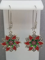 Rhinestone Pave Red Poinsettia Flower Christmas Dangle Kidney Wire Silver Tone Earrings. Christmas Earrings. Poinsettia Earrings. Dangle.