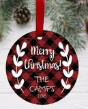 Personalized Buffalo Plaid Christmas Ornament. Aluminum, Double-Sided. Benelux or Round Shape. Family Ornament. Keepsake Ornament. Red Black