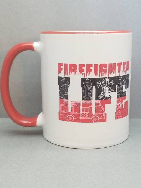 Firefighter Life Sublimated Mug. 11 oz. Thin Red Line Mug. Fire Mug. Firefighter Mug. Fire Dept Mug. Red Handle Mug. Firefighter Gift.