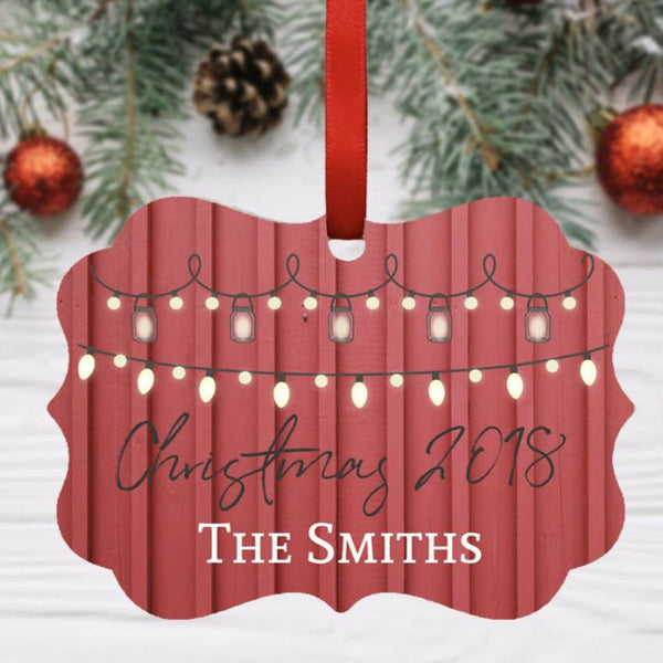 Personalized Light Strand Christmas Ornament. Aluminum, Double-Sided. Benelux or Round Shape. Family Ornament. Keepsake Ornament. Red