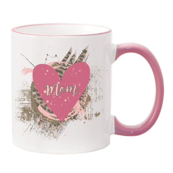 Mom Cheetah Print Heart Sublimated Mug. 11 oz. 2 sided. Mom Mug. Mother's Day Mug. Gift For Mom. Valentine's Day Gift. Cheetah Print Mug.