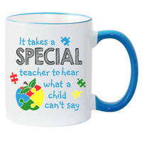 It Take A Special Teacher To Hear What A Child Can't Say Autism Awareness Sublimated Mug. 11 oz. 2 sided. Puzzle Piece Apple Teacher Mug