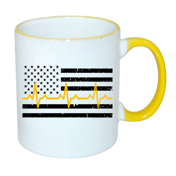 Dispatcher Thin Yellow Line Flag Heartbeat Sublimated Mug. 11 oz. Dispatcher Distressed Flag Mug. Dispatcher Mug. 911 Dispatcher Gift