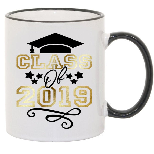 Class of 2019 Graduation Cap Sublimated Mug. 11 oz. 2 sided. Gold & Black. Graduation Mug. Class of 2019 Mug. Graduation Gift. Senior Mug