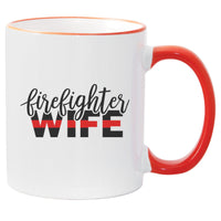 Thin Red Line Firefighter Wife  Sublimated Mug. 11 oz. Thin Red Line Mug. Fire Wife Mug. Firefighter Wife Mug. Maltese Cross Mug. Red Line