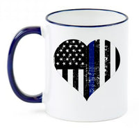 Thin Blue Line Heart Flag Wife  Sublimated Mug. 11 oz.Thin Blue Line Mug. Police Wife Mug. LEO Wife Mug. Back The Blue. Police Lives Matter