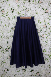 Navy Skirt in Raw Silk
