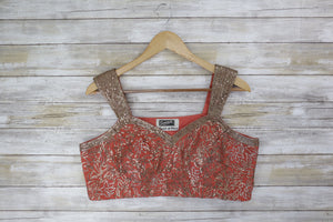 Peach Blouse with Sequin Straps