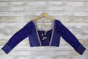 back Front blue silk long sleeved blouse with shimmering gold and mirrors