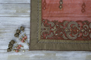 Coral dupatta with gold and stone work and thick golden border