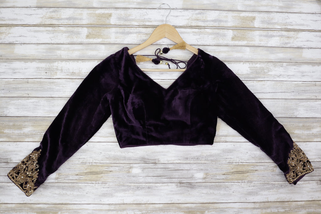 Front velvet purple long sleeve blouse with shimmering gold embroidery