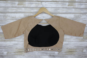 Open back long sleeve gold mirrored blouse
