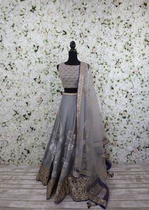 Parrot and Floral Grey Lehenga Outfit