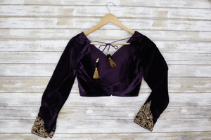 Back velvet purple long sleeve blouse with shimmering gold embroidery