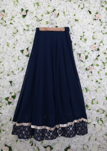 Navy lehenga skirt with two layers of rose gold embroidery