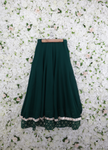 Emerald lehenga skirt with silver brocade borders