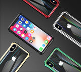 The 3rd Gen Magnetic Adsorption of No Edge Metal Bumper Case for iPhone XS Max,Clear Tempered Glass Hard Back Cover