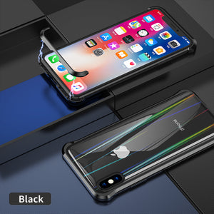 The 3rd Gen Magnetic Adsorption of No Edge Metal Bumper Case for iPhone 8 Plus,Clear Tempered Glass Hard Back Cover