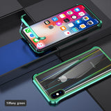 The 3rd Gen Magnetic Adsorption of No Edge Metal Bumper Case for iPhone 6,Clear Tempered Glass Hard Back Cover