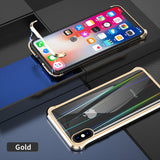 The 3rd Gen Magnetic Adsorption of No Edge Metal Bumper Case for iPhone XS,Clear Tempered Glass Hard Back Cover