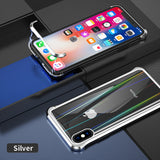 The 3rd Gen Magnetic Adsorption of No Edge Metal Bumper Case for iPhone X,Clear Tempered Glass Hard Back Cover
