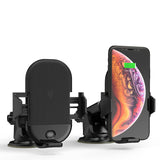 Fast Wireless Car Charger Mount Kit, One Touch Automatic Clamping Qi Cell Phone 10W Power Charging Air Vent Dashboard Holder
