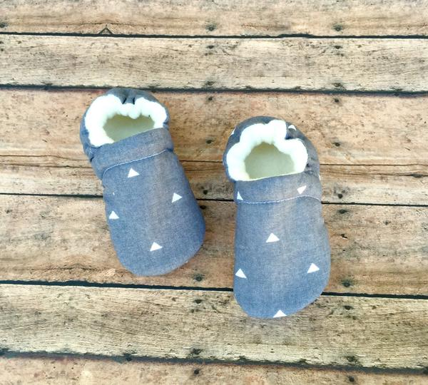 Gray & White Triangle Moccasins