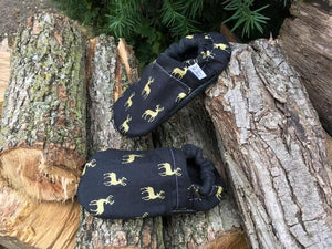 Black & Gold Buck Moccasins