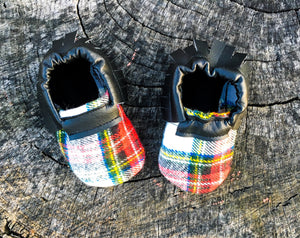 Buffalo Plaid Fringe Moccasins