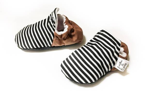 Black & White Stripe High Top Moccasins