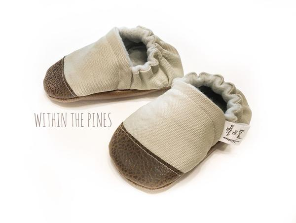 Gray Canvas Moccasins