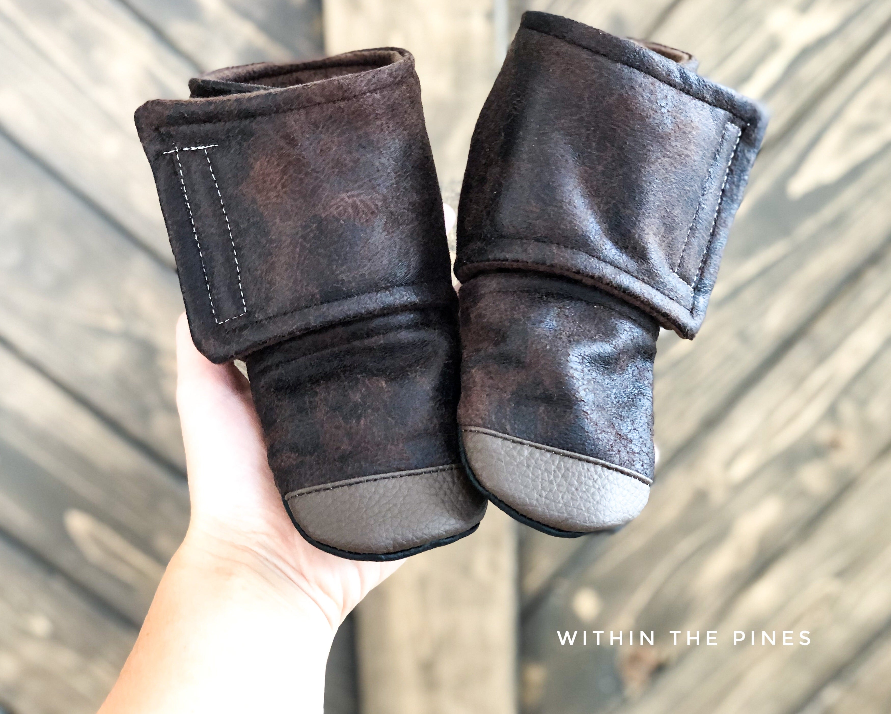 Chocolate Suede Wrap Around Boots